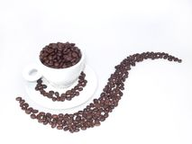 Café et Coffeebeans de matin Photographie stock