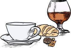Café et cognac Photographie stock