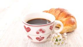 Café et croissant Photos stock