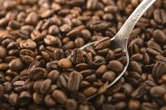 Café et cuillère Image libre de droits