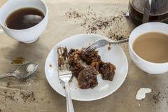 Café et gâteau pour deux Photo stock