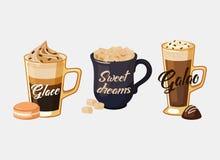 Café et galao Glace du Portugal, tasse avec du sucre Photographie stock