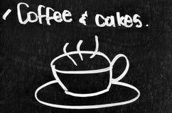 Café et signe et symbole de gâteau Photographie stock