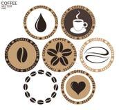 Café etiqueta no fundo branco Imagem de Stock Royalty Free