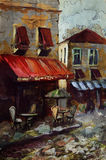 Café europeo, dibujo gráfico en color Fotos de archivo