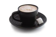 Café express avec le cube en sucre Photographie stock