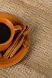 Café express de Talian sur la toile de jute Images libres de droits