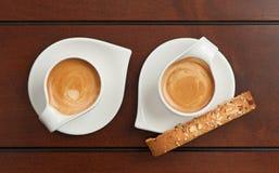 Café express y Biscotti Fotografía de archivo
