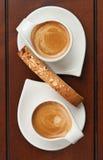 Café express y Biscotti Imagen de archivo libre de regalías