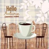 Café exterior na cidade velha, mesa de centro da rua com copos, cadeiras, folhas de outono, humor da queda, romance, ilustração,  ilustração stock