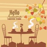 Café exterior na cidade velha, mesa de centro da rua com copos, cadeiras, folhas de outono, humor da queda, romance, ilustração,  ilustração do vetor