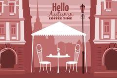 Café exterior na cidade velha, mesa de centro da rua com copos, cadeiras, humor da queda, romance, ilustração, cartão, isolado ilustração stock