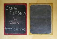 Café fechado Fotografia de Stock Royalty Free