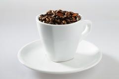 Café-feijões dentro com copo Fotos de Stock Royalty Free