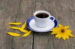 Café, flor amarilla brillante y pétalos amarillos Fotografía de archivo
