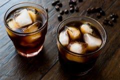 Café frío del brebaje con hielo o café helado Imagen de archivo libre de regalías