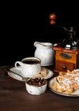 Café, gaufres et crème glacée  Photographie stock libre de droits