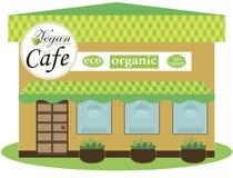 Café-Gebäudefassade des strengen Vegetariers flaches Design des Hintergrundes Lizenzfreies Stockfoto