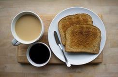 Café, gelée et pain grillé Image stock
