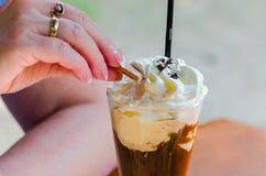 Café helado, café, helado, crema, Fotos de archivo