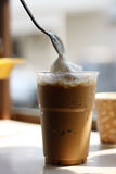 Café helado en vidrio plástico Fotografía de archivo libre de regalías