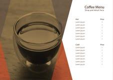 Café horizontal del menú del vector para la cafetería Fotografía de archivo libre de regalías