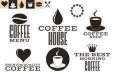 Café Iconos y etiquetas Imágenes de archivo libres de regalías