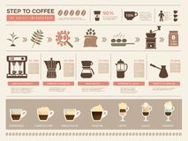 Café infographic Étapes de processus de calibre de vecteur de tasses de boissons d'expresso de grains de machine de presse de pro illustration libre de droits