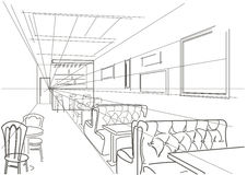 Café intérieur linéaire de croquis Images stock