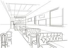 Café interior linear do esboço Imagens de Stock