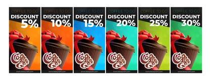 Café a ir comprovantes livres imprimíveis do disconto do café 6 cores fotografia de stock