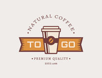 Café a ir Logotipo del café del vector Foto de archivo libre de regalías