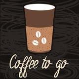Café a ir logotipo, etiqueta, sinal, rotulando Ilustração Stock