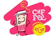 Café a ir Mão engraçada e colorida ilustração tirada Imagens de Stock Royalty Free