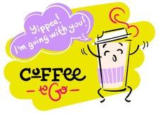 Café a ir Mão engraçada e colorida ilustração tirada Fotografia de Stock