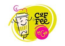 Café a ir Mão engraçada e colorida ilustração tirada Imagens de Stock