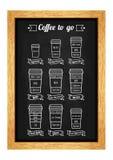 Café a ir menú Tipos y receta de Coffe Línea blanca iconos en la pizarra Vector Fotografía de archivo