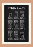 Café a ir Tipos y receta de Coffe Línea blanca iconos en el menú de la pizarra Vector Fotografía de archivo