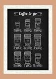 Café a ir Tipos y receta de Coffe Línea blanca iconos en el menú de la pizarra Vector Imagen de archivo