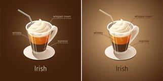 Café irlandês Copo de café com os ingredientes da bebida ilustração royalty free