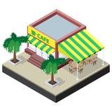Café isométrique avec des tables, des chaises et des palmiers Photographie stock libre de droits