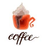 Café Letras en la taza de café Cita moderna del estilo de la caligrafía sobre el café Foto de archivo libre de regalías