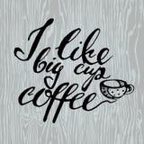 Café Letras en la taza de café Cita moderna del estilo de la caligrafía sobre el café Foto de archivo