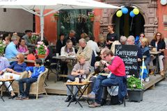 Café life in the Great Square. Great Square in the Old Town of Stockholm Royalty Free Stock Photos