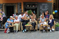 Café life in the Great Square. Great Square in the Old Town of Stockholm Royalty Free Stock Photo