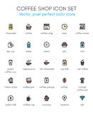 Café, ligne ensemble de café d'icône Photos libres de droits