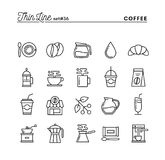 Café, ligne mince icônes réglées illustration libre de droits