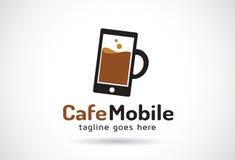 Café Logo Template Design Vector mobile, emblème, concept de construction, symbole créatif, icône Images libres de droits