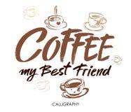 Café meu melhor amigo Caligrafia moderna da escova Rotulação escrita à mão da tinta Elementos desenhados mão do projeto Imagens de Stock Royalty Free