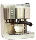 Café moderno Machine.Still-life en un fondo blanco Fotos de archivo